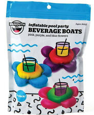 3-pk FLOWER Beverage Boat Inflatable Cup Drink Can Holder Pool Float - BigMouth