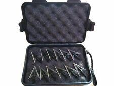 12pcs Blue Wizard 100 Grain Metal Broadhead 1 Black Case for Archery Bow Hunting
