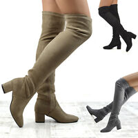 Womens Over The Knee Cuban Low Heel Ladies Biker Stretch Leg Thigh High Boots