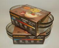 NOS 8 Anchor Ovenware Clear Glass Custard Cups 6oz. Oven Basics