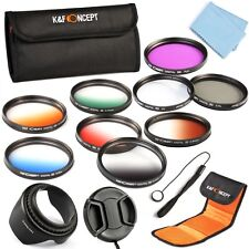 52mm Graduated Color UV CPL FLD ND Lens Filter Kit Set Hood Pen Cap For Nikon
