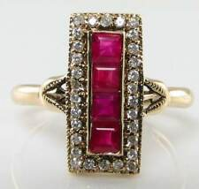 LONG 9CT 9K GOLD ART DECO INS INDIAN RUBY & DIAMOND RING FREE RESIZE
