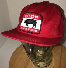 VTG CO-OP SWINE FEEDS 80s USA Red Farming Hat Cap Snapback Pork Pig PATCH Rare