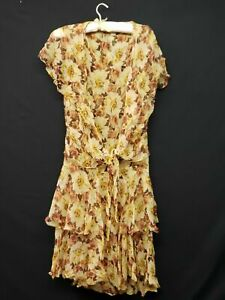 Vintage Women's 20s Flapper Era Peach Brown Chiffon Drop Waist Dress