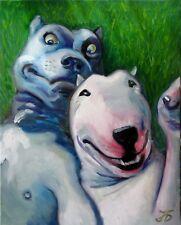 """DOG`S FRIENDSHIP"" 20X16"" BULL TERRIER AND PIT BULL TERRIER HAND PAINTED CUSTOM"