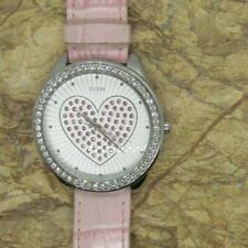 Guess Crystal Heart Leather Ladies Watch G85891L -New Battery PINK Leather Band