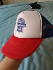 VINTAGE Pabst Blue Ribbon Hat Cap Red White Stnapback Trucker Adjustable 90s USA