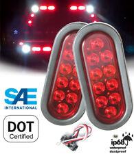 "Pack of 2 Trailer Truck RED 6"" Oval Stop Turn Tail LED Light Kit w Grommet Plug"