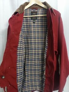 American Eagle Flannel Lined Red Canvas Jacket Men's size LARGE