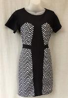 BCBL Size 10 Dress NEW Black White Stretch Corporate Work Travel Smart Casual