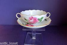 Meissen ROSA ROSSA minestre TAZZA con Sotto Tazza-pittura ROSE-BORDO ORO