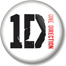"One Direction Logo White 25mm 1"" Pin Button Badge 1D Harry Styles Boy Band Fans"