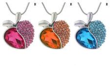 Halskette Anhänger Herz Apfel pink ozeanblau orange beige silber  Valentin