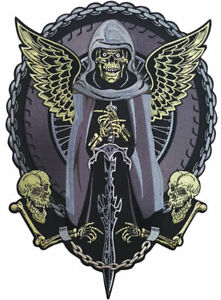 Biker Patch Grim Reaper Chains Large Back embroidered Patch for Jackets sew on