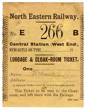 (I.B) North Eastern Railway : Luggage & Cloak Room Ticket (Newcastle Central)