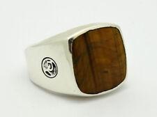 David Yurman Exotic Stone Tiger's Eye 925 Silver Men's Signet Ring Size 9.5