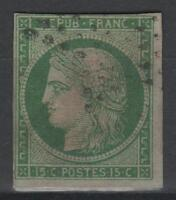 """FRANCE STAMP TIMBRE N° 2 """" TYPE CERES 15c VERT 1850 """" OBLITERE A VOIR  N207"""