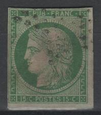 "FRANCE STAMP TIMBRE N° 2 "" TYPE CERES 15c VERT 1850 "" OBLITERE A VOIR  N207"