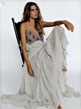NWT Free People Special Edition silver purple Embroidery Bead Maxi Gown Dress 12