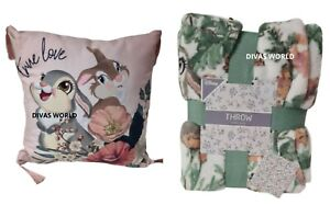 Disney Bambi Thumper Miss Bunny Bed Throw Blanket Or Cushion Pillow Gift Primark