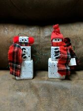 2 HANDMADE PAINTED WOOD BLOCK SNOWMEN Snowman Figures Winter Christmas