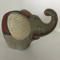 VINTAGE  ELEPHANT COIN BANK Beautifully Hand Painted Heavy