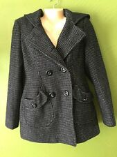 Miss Sixty Womens Double Breasted Wool Blend Jacket M60 Size Medium Black White