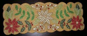 "Heavily beaded Poinsettia  Table Runner Christmas Centerpiece 34""X13"" FLAW"