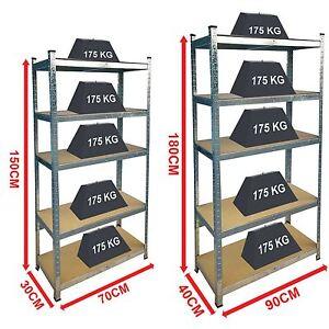 5 Tier Shelf Shelving Unit Racking Heavy Duty Storage Shelves Galvanised