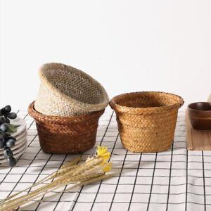 Handmade DIY Storage Basket Rattan Straw Basket Wicker Flower Pot Flower Bas^dm