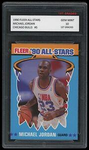 MICHAEL JORDAN 1990 FLEER '90 ALL-STARS INSERT CARD 1ST GRADED 10 CHICAGO BULLS