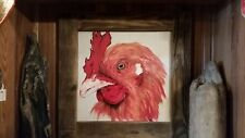 Original Signed, C Jane Art Painting, Acrylic, Rooster, 24 x 24 Framed