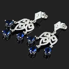 Schmuck 18K White Gold Gp Cubic Zirconia Pear Blue Sapphire Chandelier Earrings