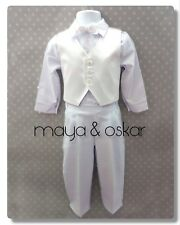 Baby Boys White Christening Baptism Wedding Smart Suit Outfit Set 0 3 6 9 12 18M