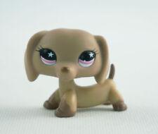Littlest Pet Shop LPS#932 Pink Star Eyes Dachshund Brown Dog Puppy