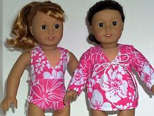 """Hawaiian print bathing suit and cover up 18"""" doll clothing fits American Girl"""
