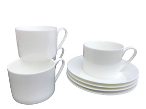 Set of 4 Plain White Bone China Contemporary Cups and Saucers