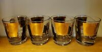 Vintage Set of 4 Mid Century Gold & Black Rocks Glasses Coin Stamp MCM