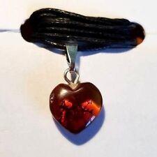 GENUINE BALTIC AMBER pendentif en forme de cœur, Valentine Cadeau Amour, Cognac couleur.