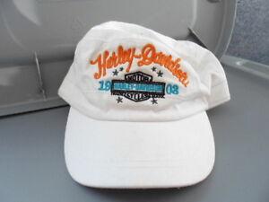 NOS Harley Davidson Womens 1903 Long B&S White Cotton Flat Top Cap 97793-12VW