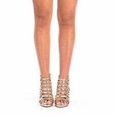 NEW LADIES  HIGH HEEL PEEP TOE WOMENS GLADIATOR ZIP UP ANKLE SANDALS SHOES SIZES