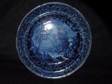"""ANTIQUE STAFFORDSHIRE DK BLUE PLATE VUE D'UNE ANCIENNE 9.25"""" D"""