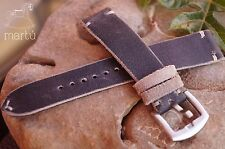 Handmade watch strap Slim Distressed Vintage Black genuine leather