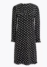 NEW J Crew Collection Womens Dress Size 6 Black Silk Star Print Long Sleeve NWT