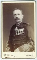 photo cdv 1880 portrait de militaire - médailles légion d'honneur - Nancy