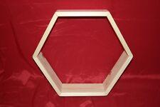 Hexagonal Wooden Display Shelf Frame. Solid wood shelving window / wall hexagon