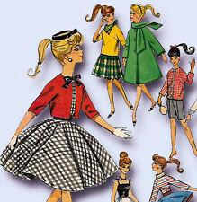 1960s Vintage Simplicity Sewing Pattern 4700 Classic Barbie Doll Clothes Set