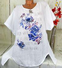 T-Shirt Tunika Bluse Top Glitzer Hängerchen Baumwolle Leinen Weiß XXL 48 50 52