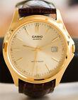 Casio MTP-1183Q-9A Men's Analog Watch Leather Quartz Palladium covered case New