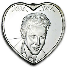 1 troy oz .999 SILVER Coin Bullion: LOVE HEART- ELVIS- for someone special